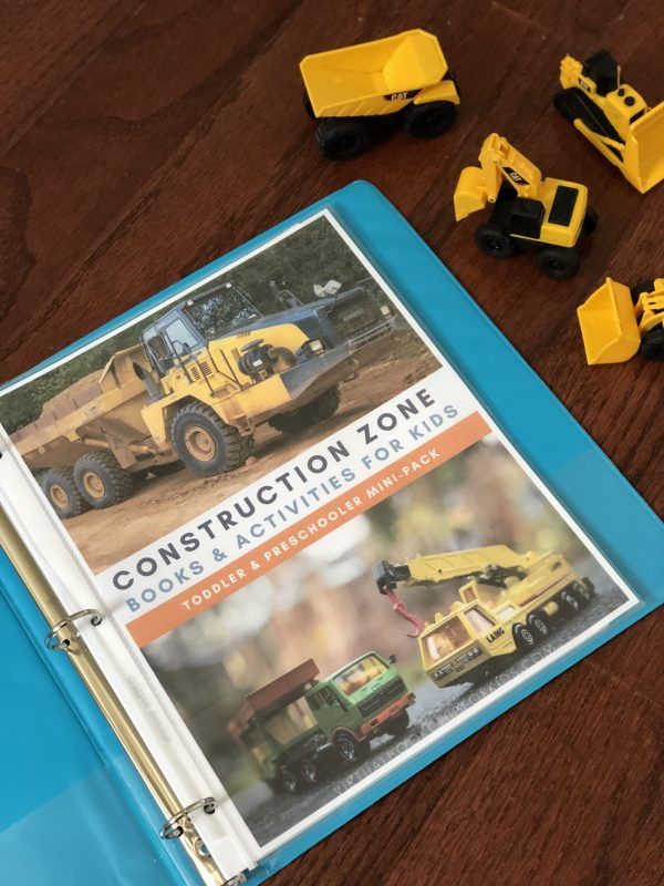 Construction Week Activity Mini Pack from the Virtual Book Club for Kids with ideas for hands-on activities for Toddlers and Preschoolers to play, learn, create and have fun.