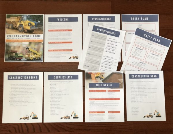 Contents of the Virtual Book Club for Kids Construction Zone Mini Pack for Toddlers and Preschoolers