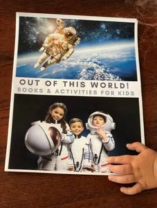 Space themed mini-pack with book recommendations and activities including a delicious recipe ideal for out of this world fun for toddlers and preschoolers