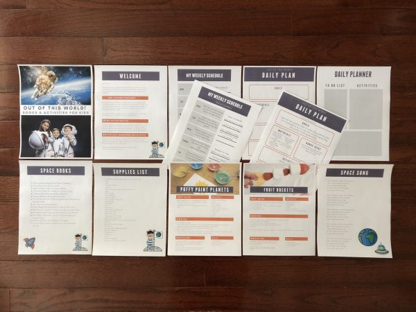 Inside the Space Themed Mini Pack for Toddlers and Preschoolers from the Virtual Book Club for Kids